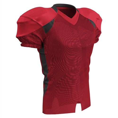 - Champro Huddle Stretch Dazzle Youth Football Jersey - Scarlet/Black - Small