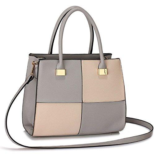 Xardi London - Shoulder Bags Women Leather Bags Girls School Bag Ladies Style A4 Gray / Nude
