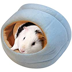 Gotian Hamster Small Pet House Sleeping Nest Bag, Lovely Cotton Wool Soft Warm Bed Mat, Chinchilla Rabbit Nest Pet Supplies House Tent (L, Blue)
