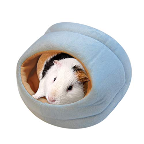 Hamster House Bed Fleece Small Pet Squirrel Hedgehog Chinchilla Rabbit Guinea Pig Bed House Cage Nest Hamster Accessories Small Animal Bed Mat Hamster Chinchilla Rabbit Nest Pet Supplies (S, Blue)
