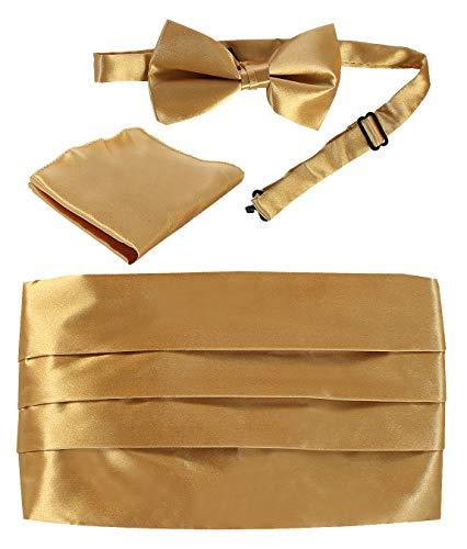 Gioberti Men's Adjustable Satin Cummerbund Set With Formal Bow Tie and Pocket Square, Gold