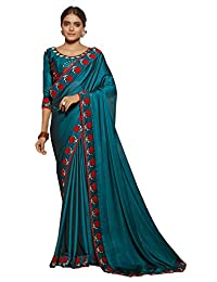 Mirraw Classiques Blue Embroidered Art Silk Saree with Unstitched Blouse