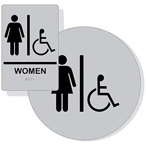 Accessible Women's Restroom Sign Set for Wall/Door, ADA-Compliant Braille with Symbol, Black on Silver Acrylic by ComplianceSigns ()
