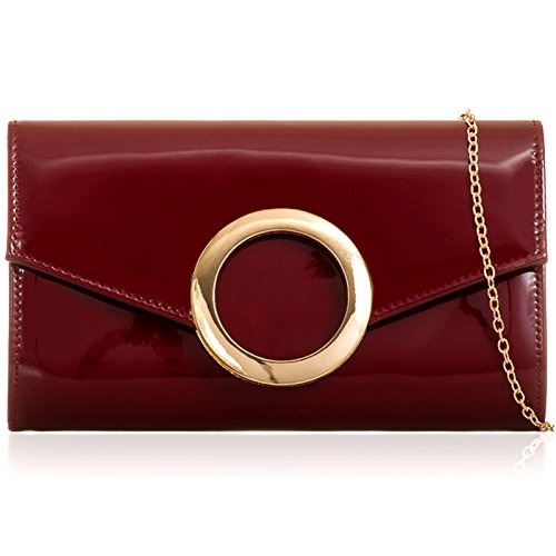 Leather Evening Shine Bags Clutch Patent Flap Party Burgundy Prom Medium Over Look Women Vinyl Ladies Xardi London xwqPXRw