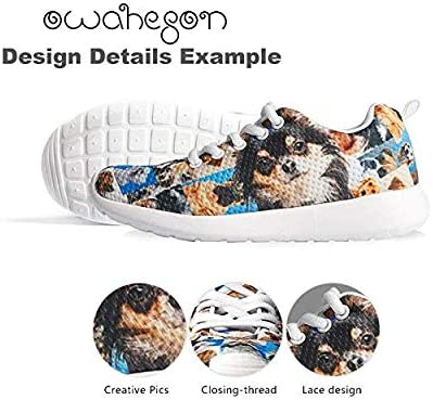 Owaheson Boys Girls Casual Lace-up Sneakers Running Shoes Windmill Cock Hen Chick Cow Lover Farm Style