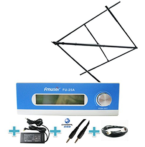 Radio Station Transmitter - FMUSER 25W Long Range FM transmitter Set for Community Radio Station, 0-25w Radio Transmitter with High Gain Circular Polarized Antenna RF Cable for Radio Broadcast, 87-108mhz