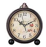 5-Inch Vintage Retro Old Fashioned Decorative Desk Clock,European Style Vintage Silent Desk Alarm Clock Non Ticking Quartz Movement,HD Glass Lens (8#)