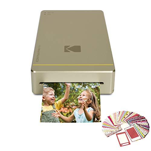 Kodak Mini Portable Mobile Instant Photo Printer Wirelessly Prints 2.1 x 3.4 Images (Gold) Compatible with Android & iOS