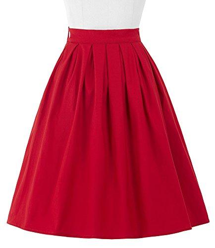Belle Poque Swing Jupes Rétro Été Casual Rouge Vintage 2