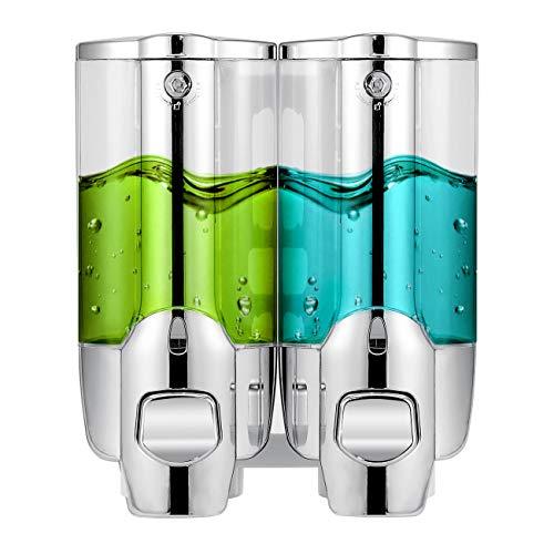 - ZISY Soap Dispenser, Soap and Shower Dispenser,2-Chamber Shampoo & Soap Dispenser, Wall Mounted Liquid Hand Soap Dispenser for Bathroom,Sliver 2 Chamber,2x350ml