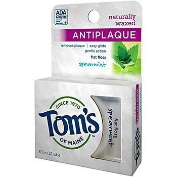 Antiplaque Flat Spearmint (Dental Floss - Spearmint, Anti Plaque, Flat, 32 yard by Tom's of Maine)