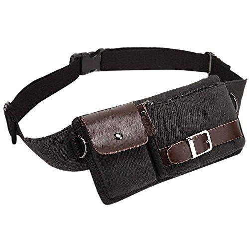 Baosha YB-01 Vintage Men's Waist Bag Sports Waist Pack Bum Bag Security Money Waist Day Pack Pouch Hip Belt Bag Bumbag Black