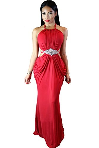Women Lace Backless Sleeveless Waisted Cocktail Dress Red - 2
