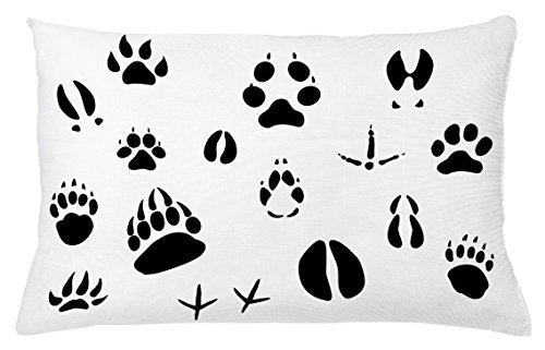 Wild Animal Footprints (Hunting Throw Pillow Cushion Cover by Ambesonne, Set of Wildlife Animal Footprints and Hooves Claw Silhouettes Ecology Nature, Decorative Accent Pillow Case, 26 W X 16 L Inches, Black and White)