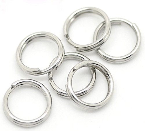 """VALYRIA 100pcs Stainless Steel Silver Split Key Ring Open Jump Ring Finding 7x0.7mm(1/4"""")"""
