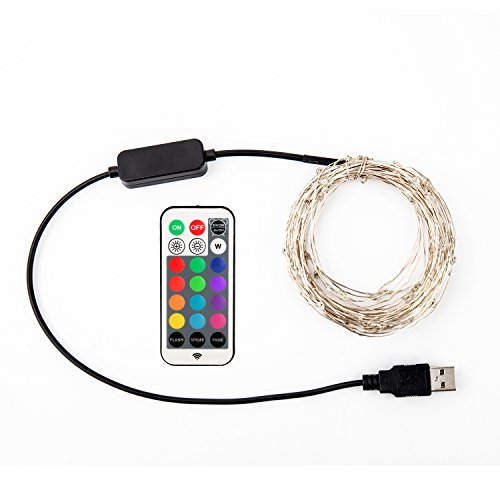 YIHONG Fairy Lights USB Plug-in String Lights with RF Remote 33ft Firefly Twinkle Lights for Bedroom Party Decoration Wedding,13 Vibrant Colors, Fade|Flash|Strobe Mode by YIHONG (Image #6)