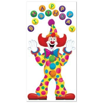Birthday Clown Door Cover Party Accessory (1 count) (1/Pkg) -
