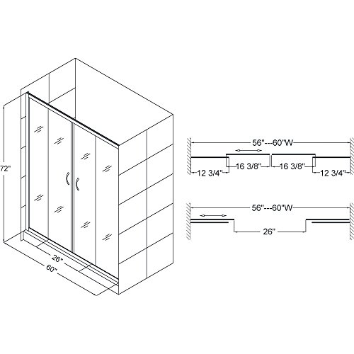DreamLine Visions 56-60 in. Width, Frameless Sliding Shower Door, 1/4'' Glass, Brushed Nickel Finish by DreamLine (Image #2)