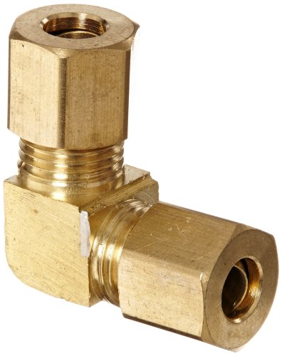 Anderson Metals 50065 Brass Compression Tube Fitting, 90 Degree Elbow, 1/4