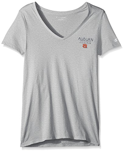 Champion NCAA Auburn Tigers Women's University V-Neck Front/Back, Small, Oxford Heather