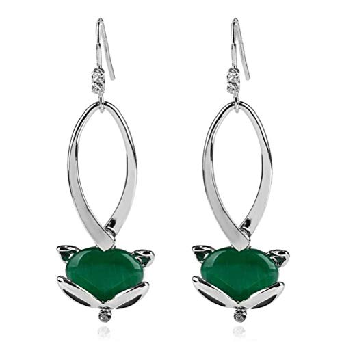 (WOZUIMEI Earring Natural Green Opal Long Silver Plated Cute Animal Fox Drop Earrings, Green )