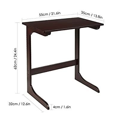 HOMFA Bamboo Snack Table Sofa Couch Coffee End Table Bed Side Table Laptop Desk Modern Furniture for Home Office