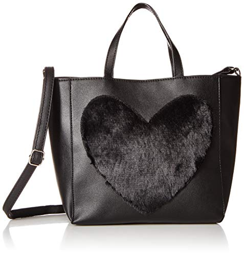 (T-Shirt & Jeans Womens Tote with Faux Fur Heart, black)
