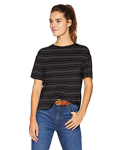 (Amazon Brand - Daily Ritual Women's Jersey Short-Sleeve Boxy Pocket T-Shirt, Black-White Stripe, Large)