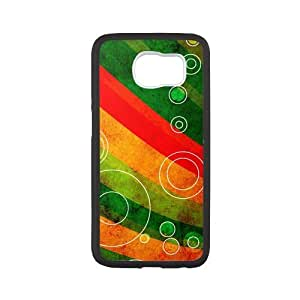 Samsung Galaxy S6 Case,Circle Outlines On Grungy Waves Tpu Back Cover Case,Ultra Slim Cover Case,Scratchproof Dustproof Anti-Slip