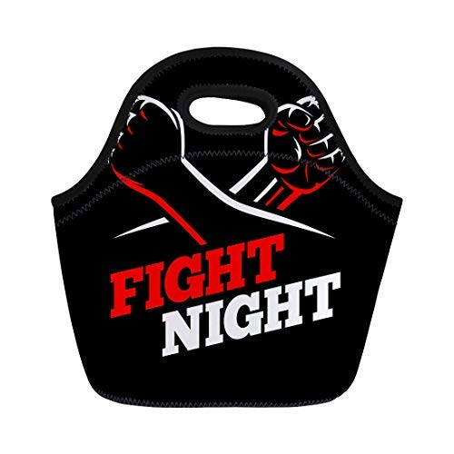 Vontuxe Insulated Lunch Tote Bag Clenched Fists Fight Mma Kick Boxing Karate Sport Night Outdoor Picnic Food Handbag Lunch Box for Men Women Children