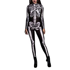 - 41ziQNEidaL - Pink Queen Womens Halloween Cosplay Skull Skeleton Print Costume One-Piece Catsuit Bodysuit