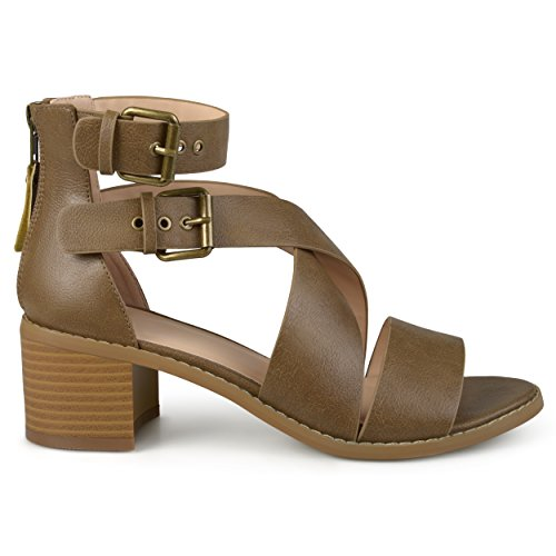 Ankle Strap Faux Wood - Brinley Co Womens Stacked Wood Heel Faux Leather Double Ankle Strap Sandals Brown, 9 Regular US