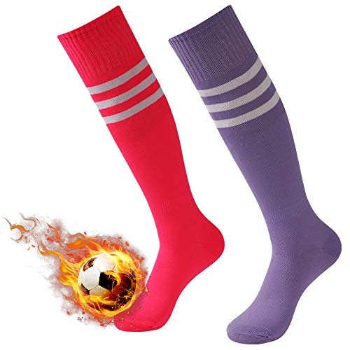 3street Football Socks Mens, Unisex Half Cushioned Striped Sport Team Socks Over The Calf Soccer Softball Long Tube Socks Compression Socks Purple Hot Pink 2 ()