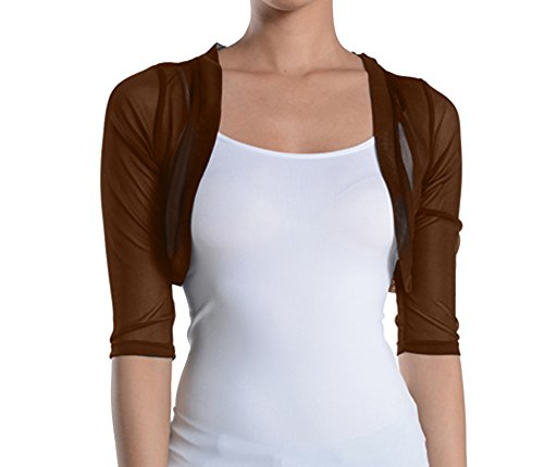 Fashion Secrets Junior`s Sheer Chiffon Bolero Shrug Jacket Cardigan 3/4 Sleeve (X-Large, Brown) (Cropped Jacket Brown)