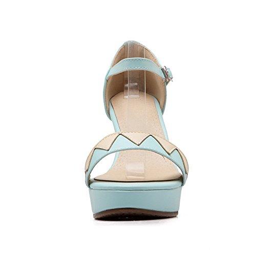 Amoonyfashion Donna Materiale Morbido Open Toe Fibbia Sandali Assortiti Colore Azzurro Chiaro