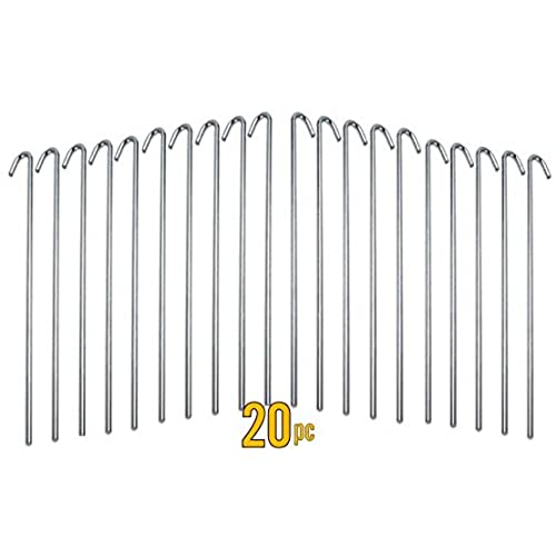 20pc ALAZCO Galvanized Steel Tent Pegs - Garden Stakes -Heavy Duty - Rust Free  sc 1 st  Amazon.com & Metal Tent Stakes: Amazon.com