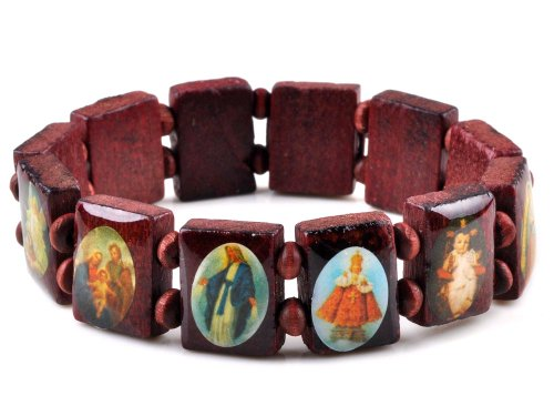Imixlot Wood Beads Small Squares With Pictures Icons Of Jesus Mary And More Saints Bracelet Elastic Adjustable Bangles Free Style