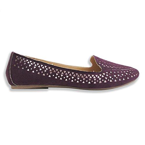 Olivia Miller Womens Sophie Laser Cut W / Metallic Underlay Smoking Shoes Purple