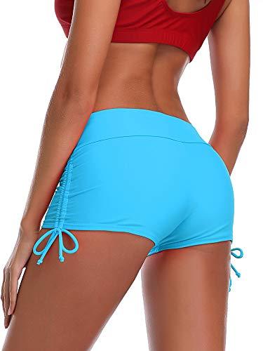 MiYang Women's Solid Blue Beach Pant Bikini Bottom Adjustable Tie Boy Short XXL (Waist 35.5