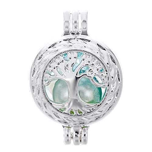 (10pcs Tree of Life Pearl Cage Bright Silver Beads Cage Locket Pendant Jewelry Making-For Oyster Pearls, Essential Oil Diffuser, Fun Gifts (Tree of)