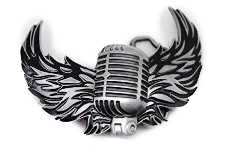 - TFJ Men Fashion Buckle Silver Metal Fire Wings Microphone Radio Music Rocker