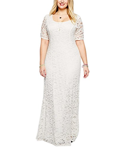 Nemidor Women's Full Lace Plus Size Wedding Maxi Dress White (16W,White) by Nemidor