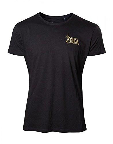 Zelda Nintendo Original Breath of The Wild Unisex T-Shirt Golden Game Logo Schwarz 100% Baumwolle