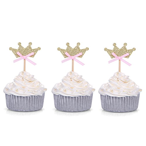 Small Tiaras For Cupcakes (Giuffi Set of 24 Golden Tiara with Pink Bow Cupcake Toppers Party)