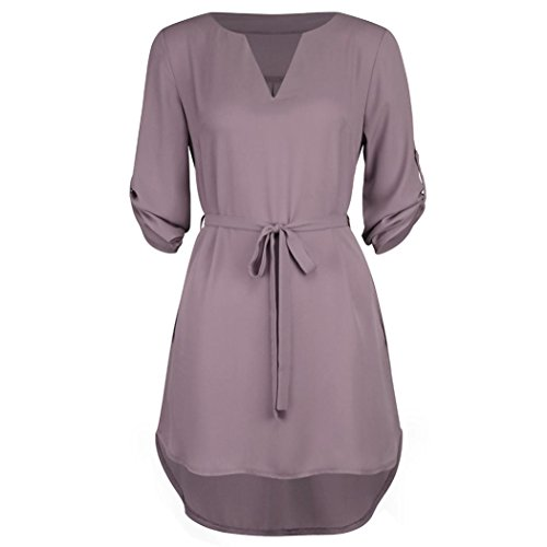 iYYVV Women's Casual Solid 1/2 Sleeved V-Neck Lace-up Pocket Irregular Hem Beach Dress ()
