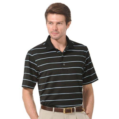 Monterey Club Mens Dry Swing Single Block Stripe Texture Polo Shirt #1645 (Black/Still Water, X-Large)