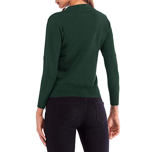 Yvelands Bordado de Las Mujeres de Punto de Manga Larga suéter Outwear Escudo Top Blusa(Green, S): Amazon.es: Ropa y accesorios