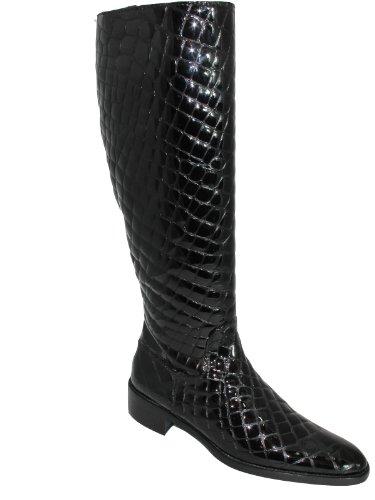 Kvinna Italienska Tall Knähöga Stövlar Moc Croc Svart