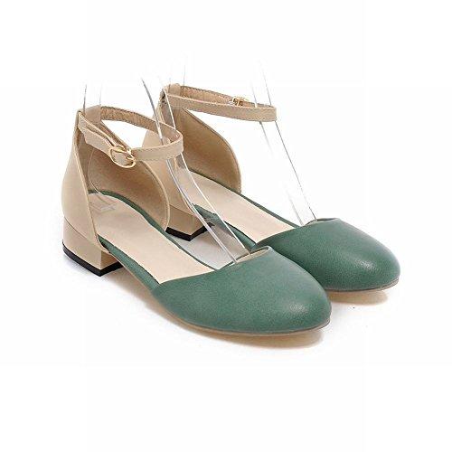 Carolbar Women's Fresh Casual Low Heel Assorted Colors Court Shoes Green gqACcxluh