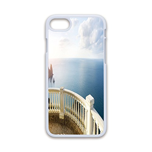 Phone Case Compatible with iPhone7 iPhone8 White Soft Edges 2D Print,Antique Decor,Historical Stone Balcony Balustrade Ocean Rocks Horizon Ancient Europe,Blue White Brown,Hard Plastic Phone Case